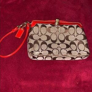 Coach Tan Colorblock Wristlet With Red Leather